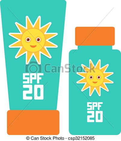 Vector of Tube container of sun cream Sunscreen SPF 20. The blue.