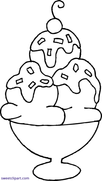Ice Cream Sundae Black And White Clipart.