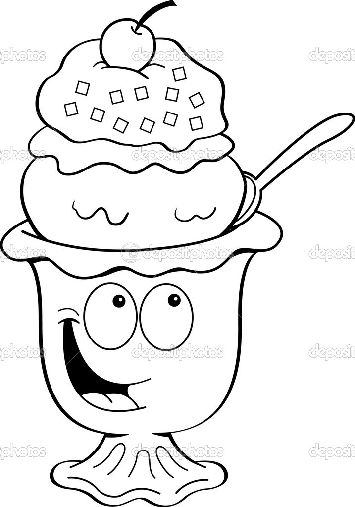Free Ice Cream Sundae Clipart Black And White, Download Free.