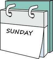 Weekly Calendar Clipart Sunday.