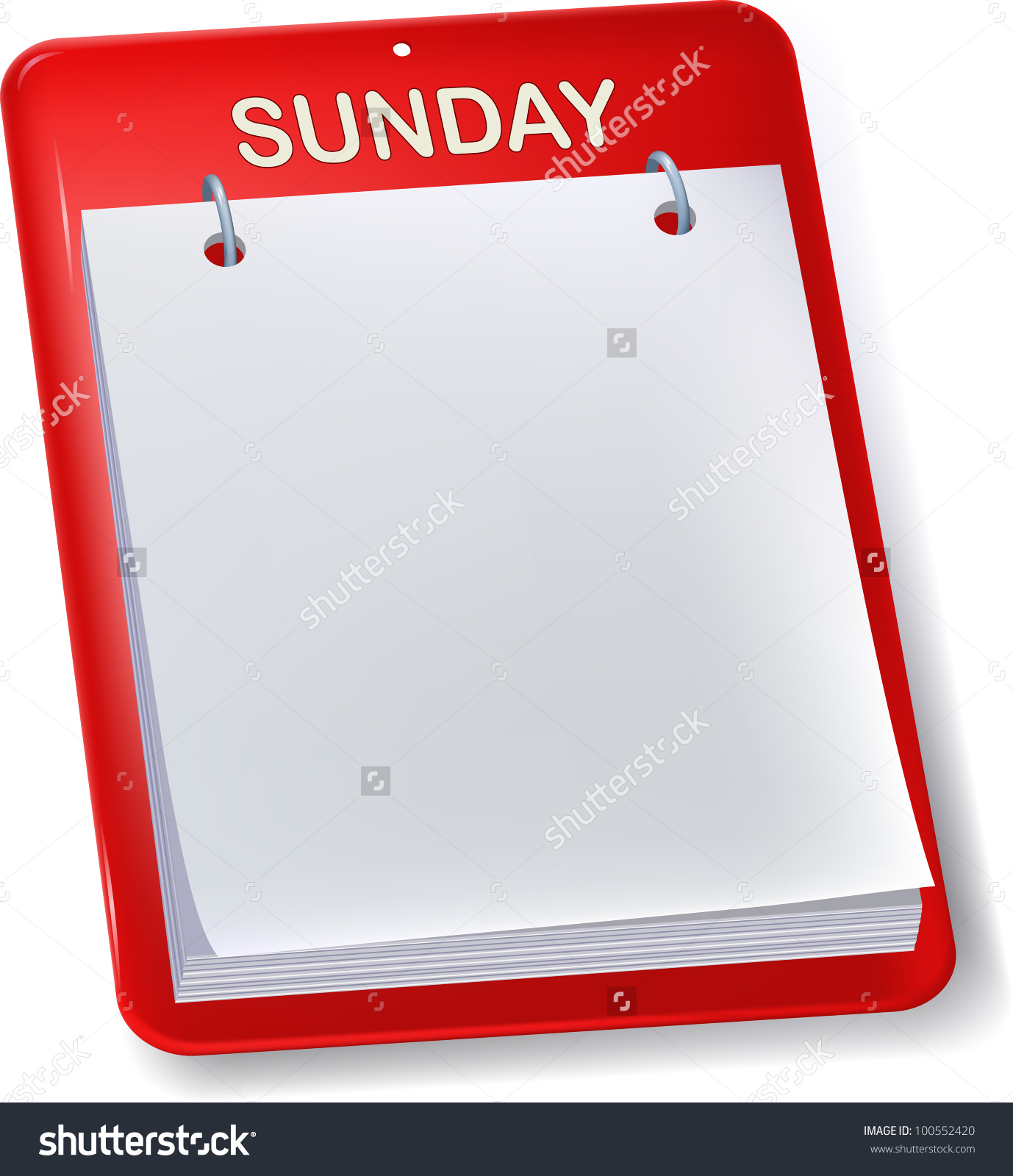 Blank Calendar Sunday Empty Sheet Isolated Stock Vector 100552420.