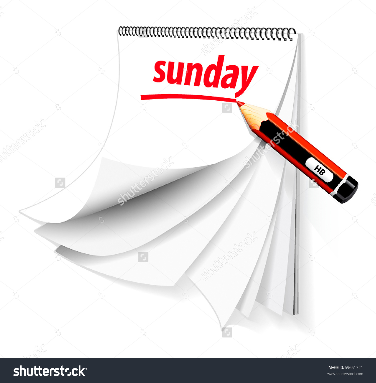 Sunday Calendar Pencil Stock Vector 69651721.