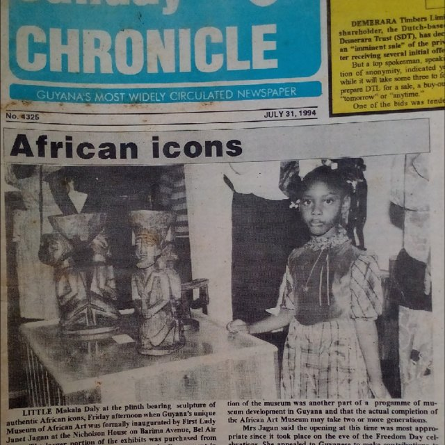 Frontpage of Guyana\'s Sunday Chronicle. The image shows Ms.