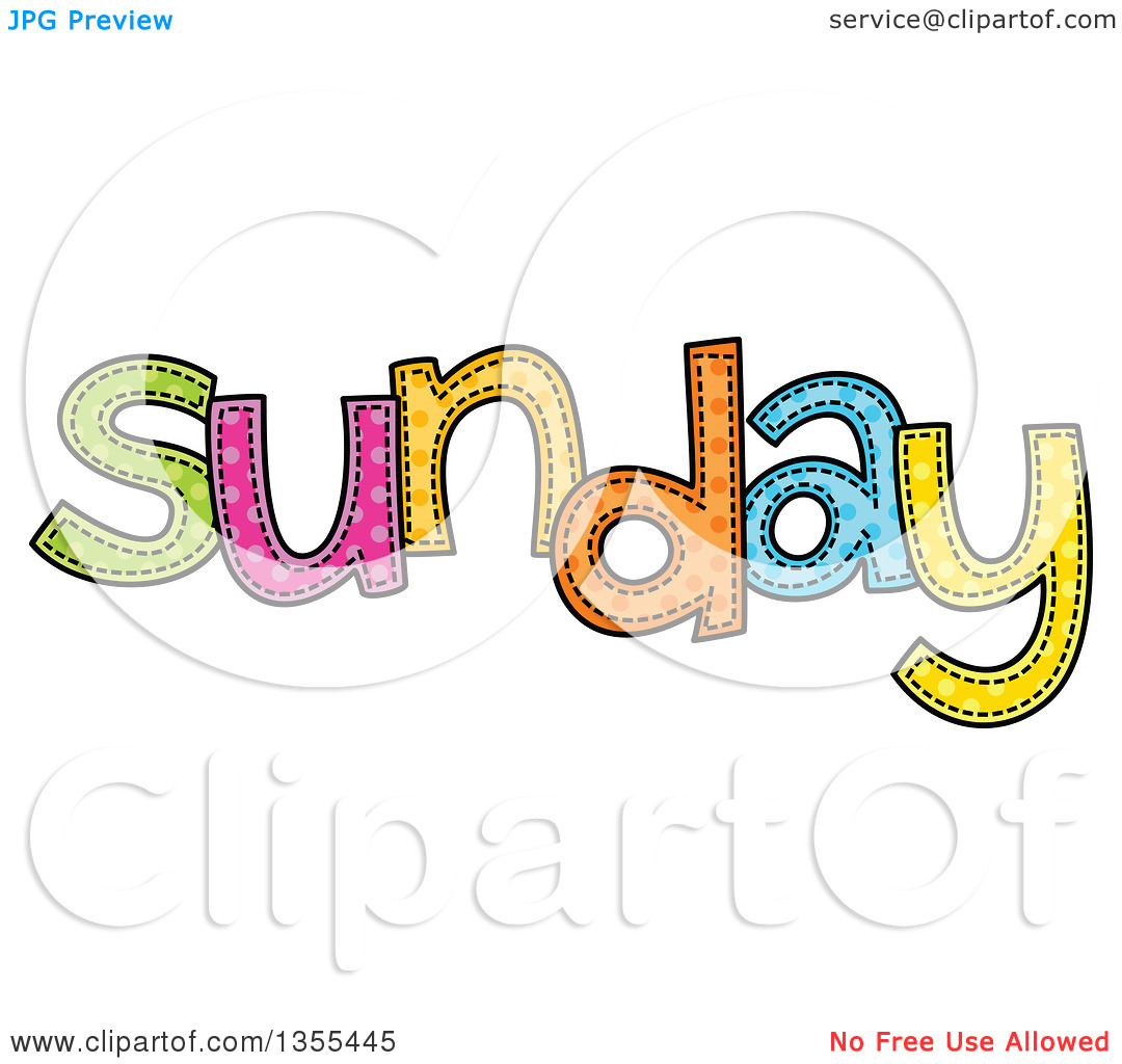 Clipart of a Cartoon Stitched Sunday Day of the Week.