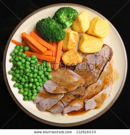 Sunday Roast Lamb Dinner Roast Potatoes Stock Photo 112916533.