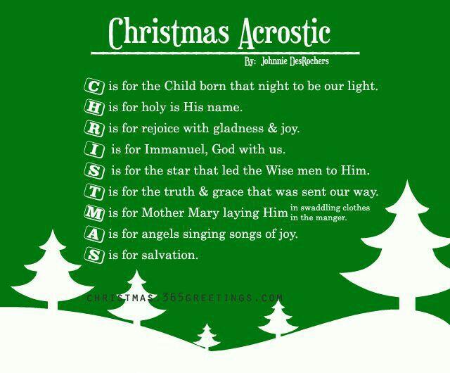 Cute poem idea for the Sunday School Christmas Program.