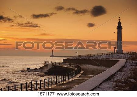 Picture of sunderland, tyne and wear, england; a lighthouse along.
