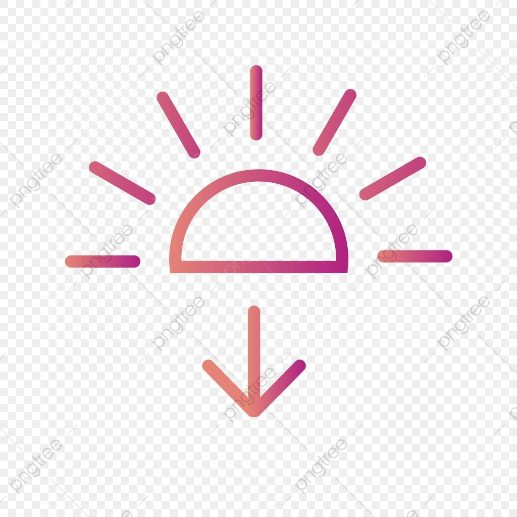 Vector Sundown Icon, Sun, Sunrise, Sunset PNG and Vector.