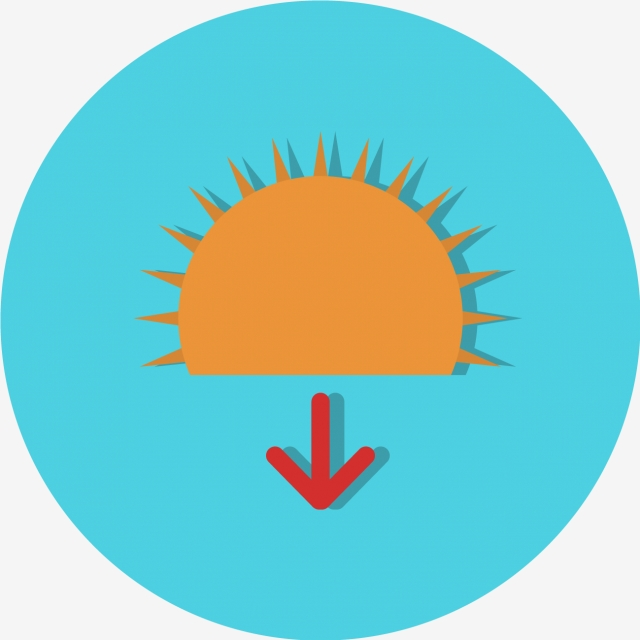 Vector Sundown Icon, Sun, Sunrise, Sunset PNG and Vector for.