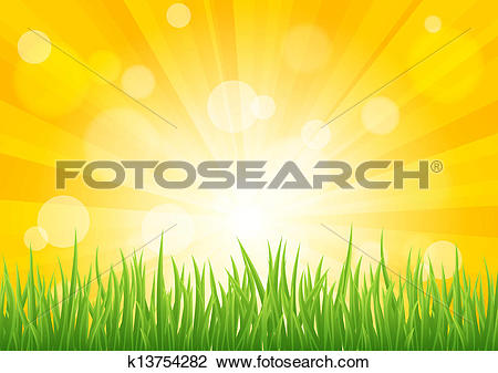 Clipart of Bright vector sun effect with green grass field.