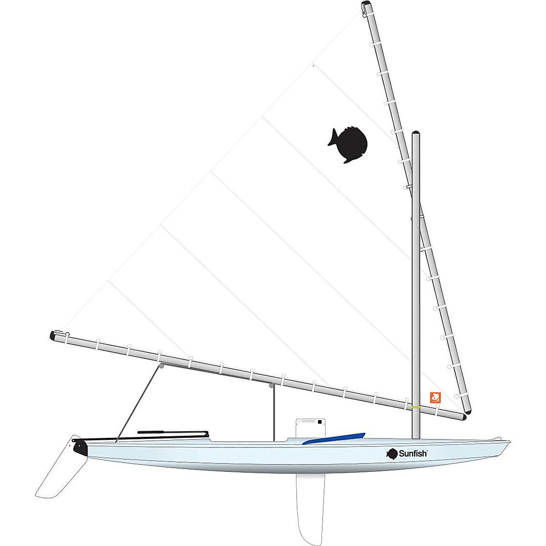 Sunfish Race, Ice Blue, Navy Coaming.