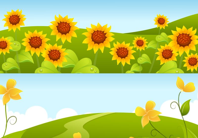 Yellow Sunflower Background Vector Pack.