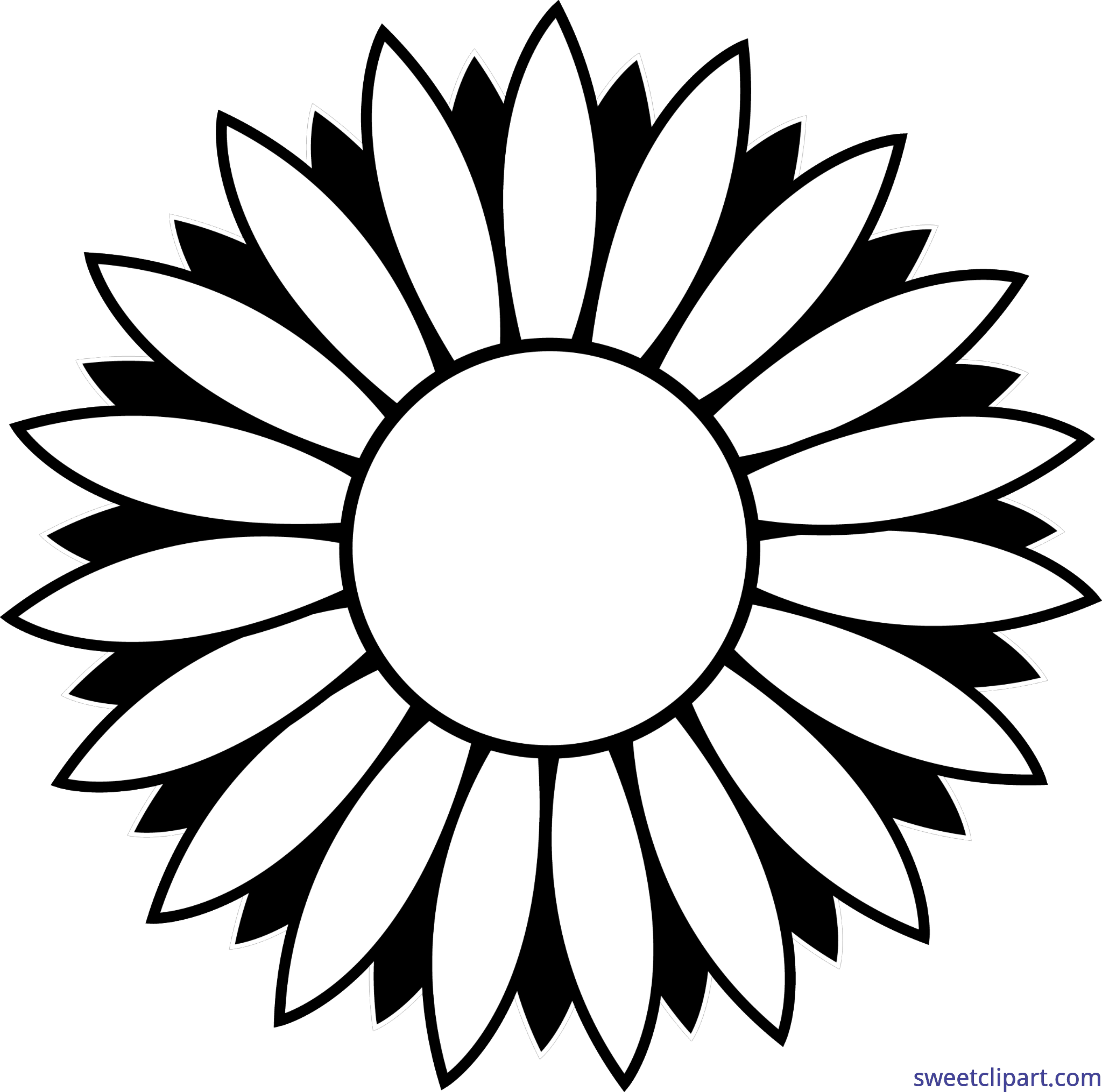 Flower Sunflower Black And White Lineart Clip Art.