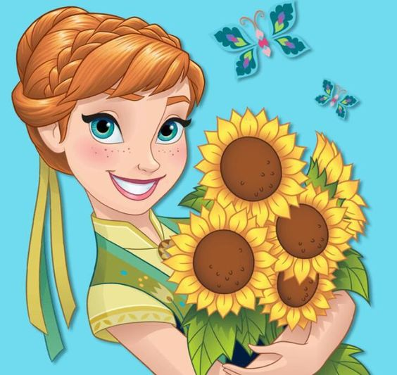 Sunflower Border Anna Frozen Disney Clipart.