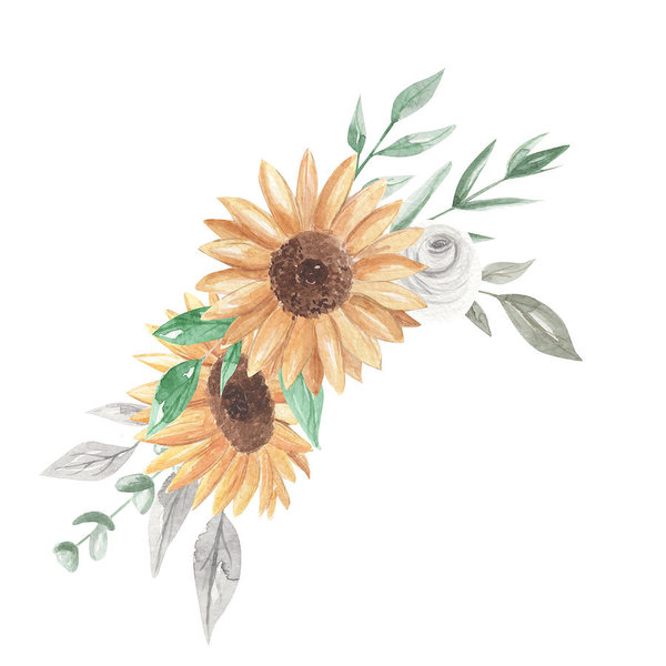 Sunflower Watercolor Bouquets Clipart Flowers White Roses Art Print.
