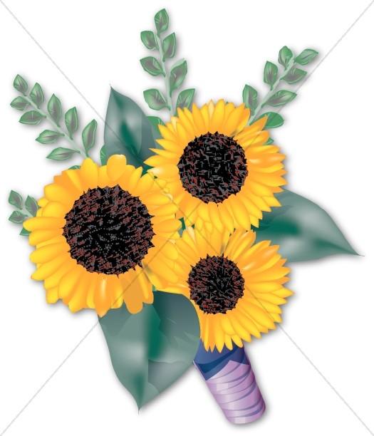 Yellow Sunflower Bridal Bouquet.