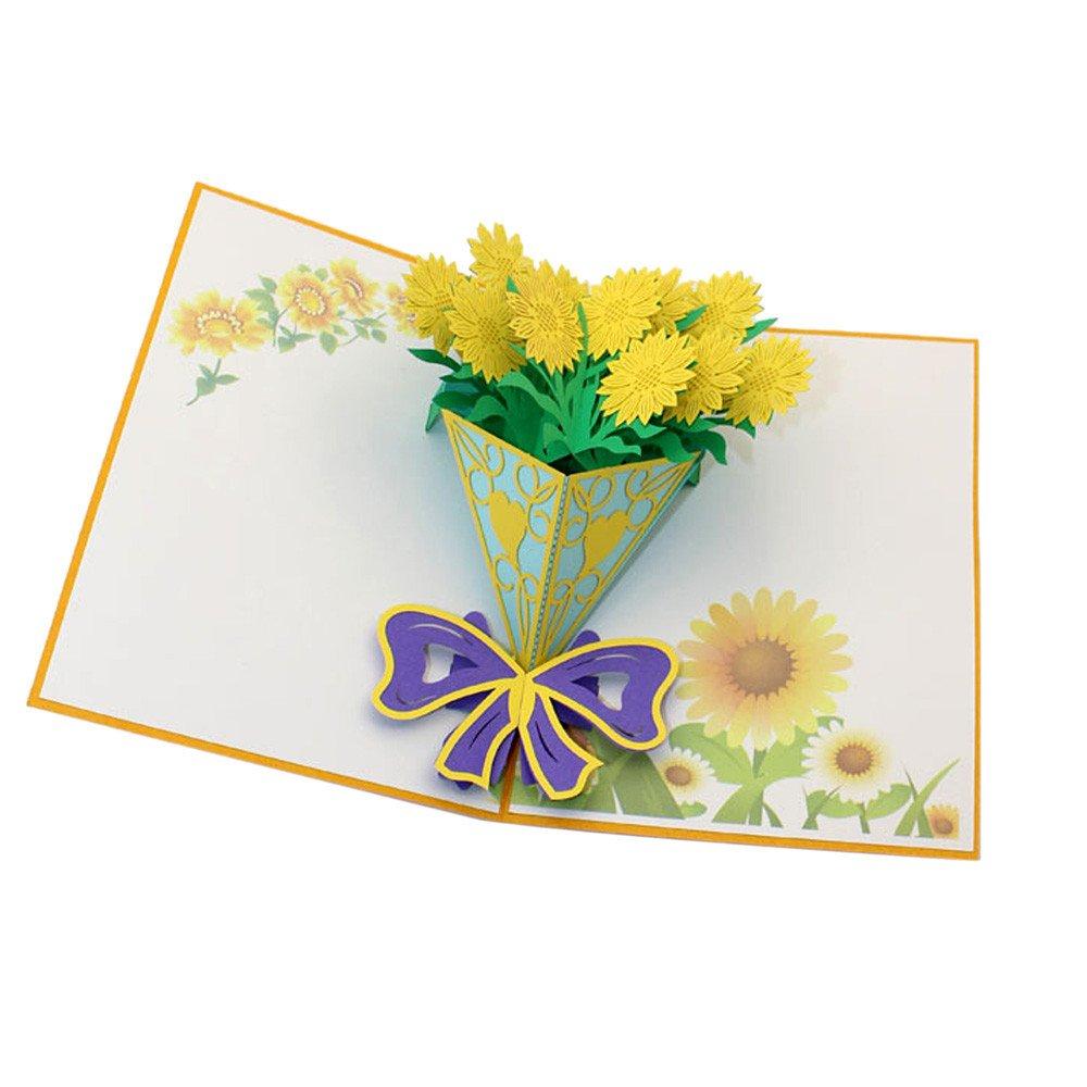 Amazon.com: JAWM Sunflower Bouquet Pop Up Card, 3D DIY Three.