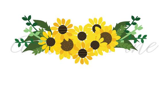 sunflower SVG, fall floral SVG, perennial sunflower, bouquet.