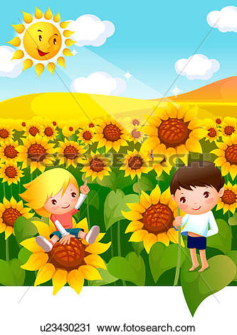 Clipart of Boy and a girl in a Sunflower field u23430231.