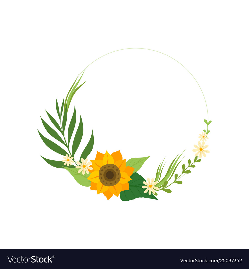Floral circle frame with sunflower green leaves.