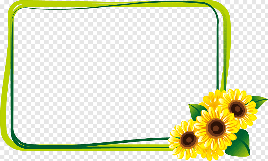 Sunflower frame illustration, Common sunflower Summer.