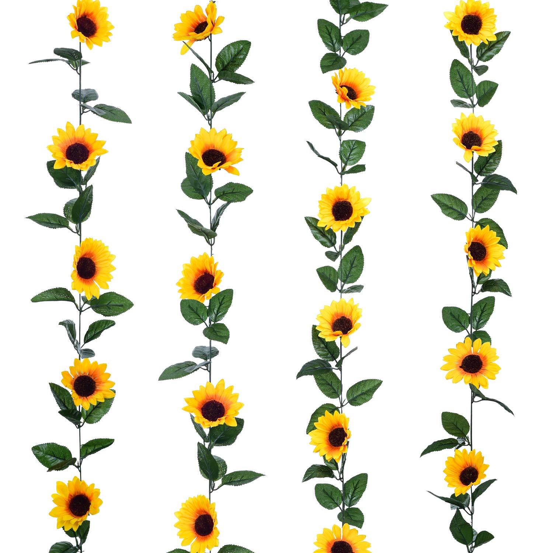 Lvydec 4 Pack Artificial Sunflower Garland.