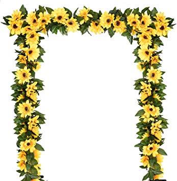 DearHouse 2 Pack Artificial Sunflower Garland Silk Sunflower Vine  Artificial Flowers with Green Leaves Wedding Table Decor.