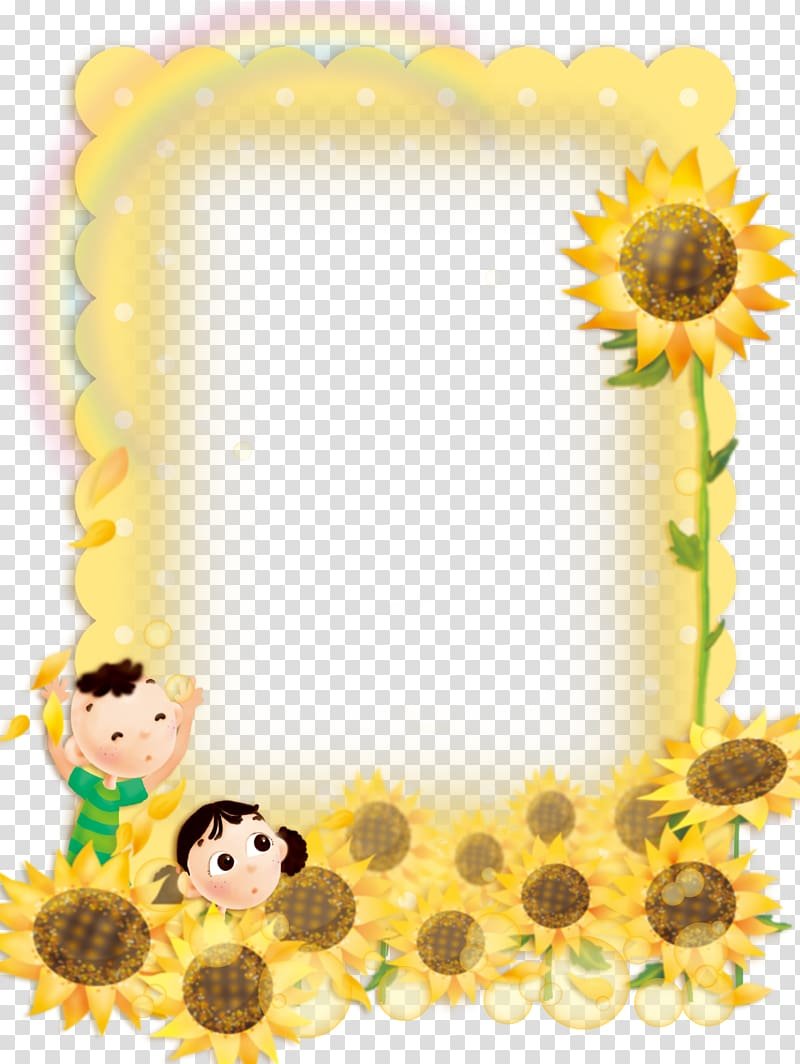 Sunflower frame , frame, Cute child sunflower border.