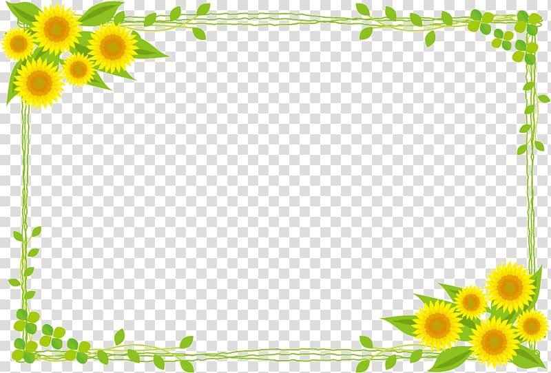 Yellow sunflowers border, Common sunflower Public domain.