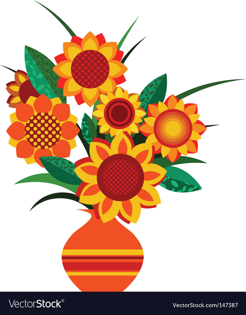 Retro colourful vase with sunflowers.