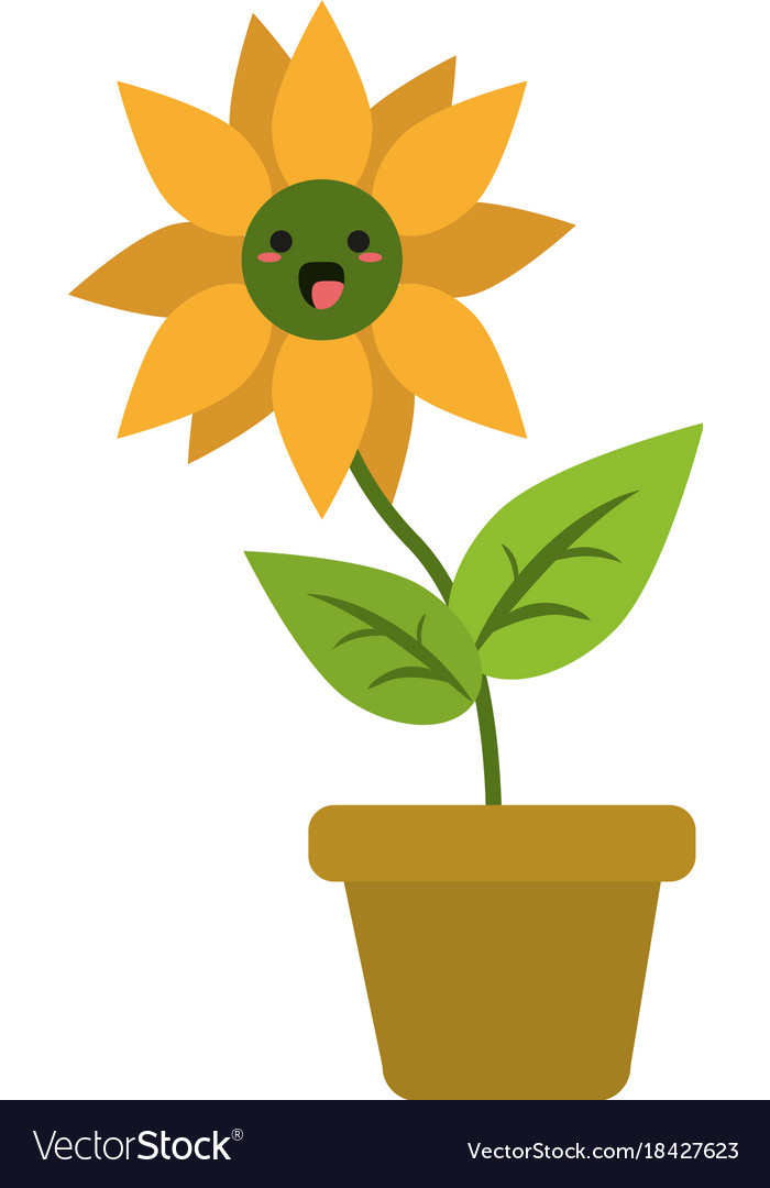 Sunflower in vase cute kawaii cartoon.