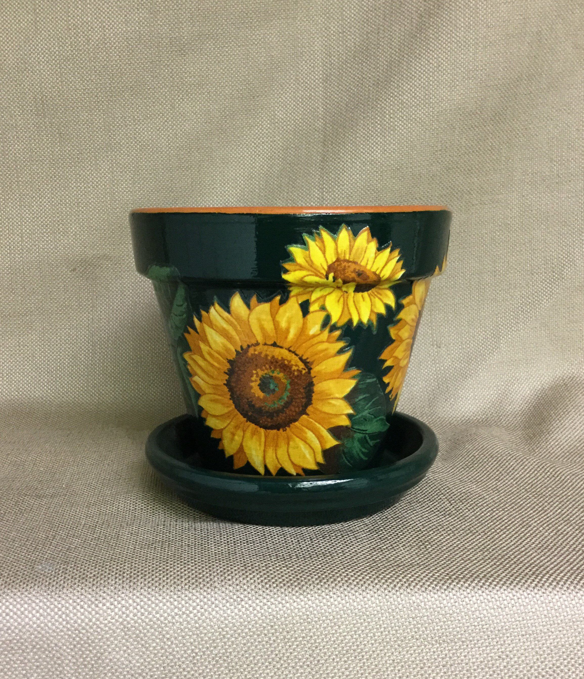 Sunflower Flower Pot with Saucer, sunflower Planter, Garden.