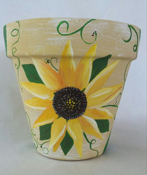 Flowerpot hand painted pot sunflower clay by.