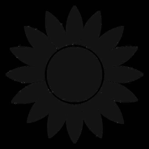 Flat grey sunflower head logo.