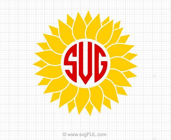Sunflower Monogram SVG Clipart.