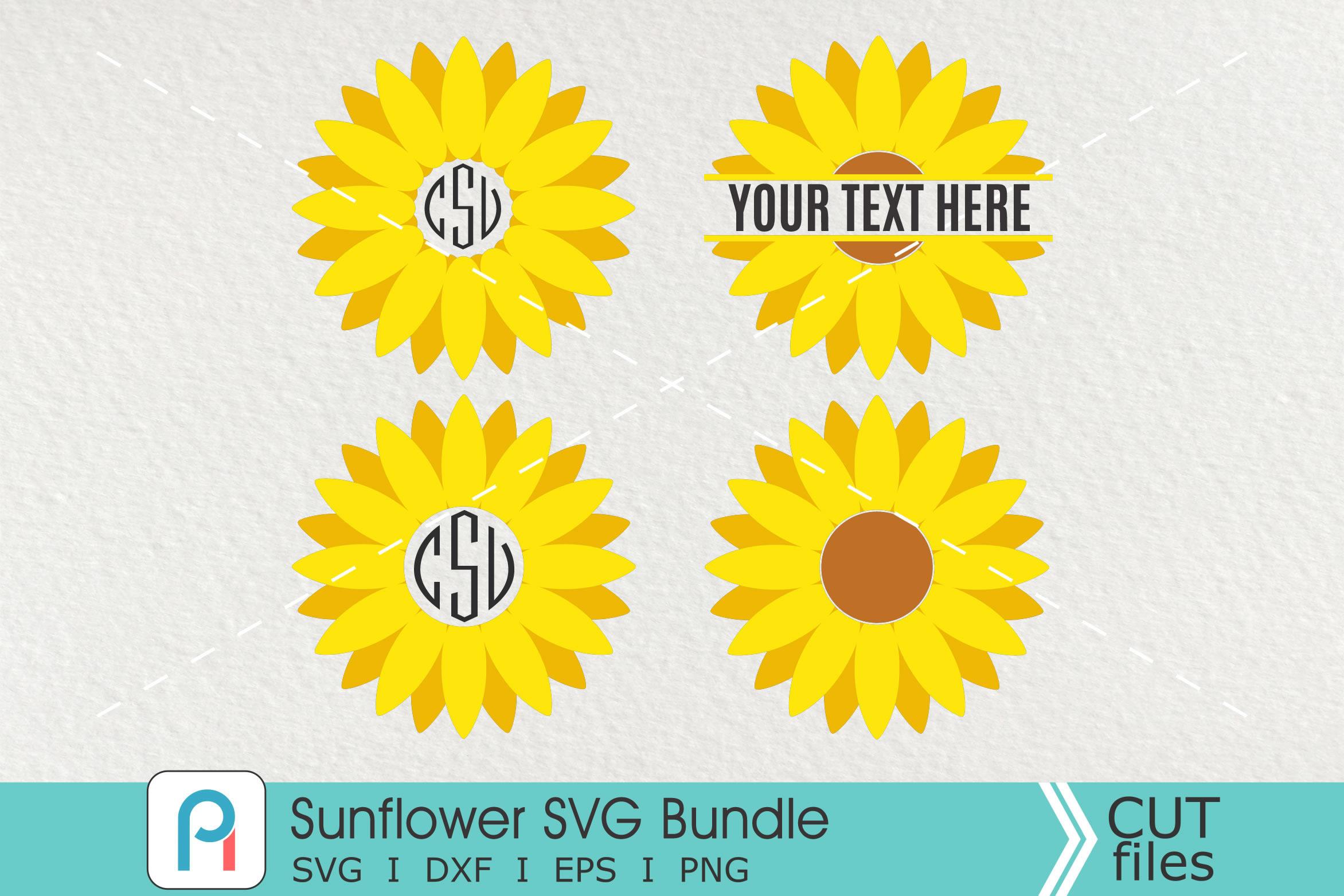 Sunflower Monogram Svg, Sunflower Svg, Sunflower Clipart.