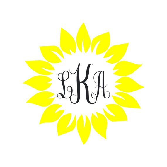 Sunflower Monogram // Vinyl Decal.