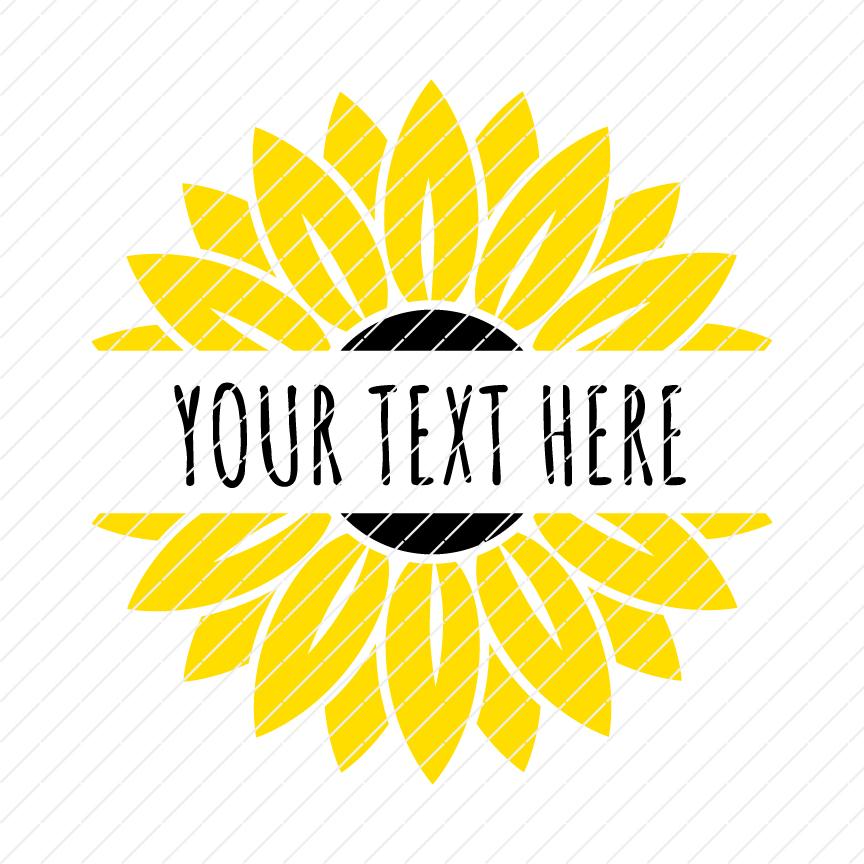 Sunflower Split Monogram Custom Your Name SVG.