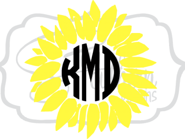 Sunflower Clipart Monogram.