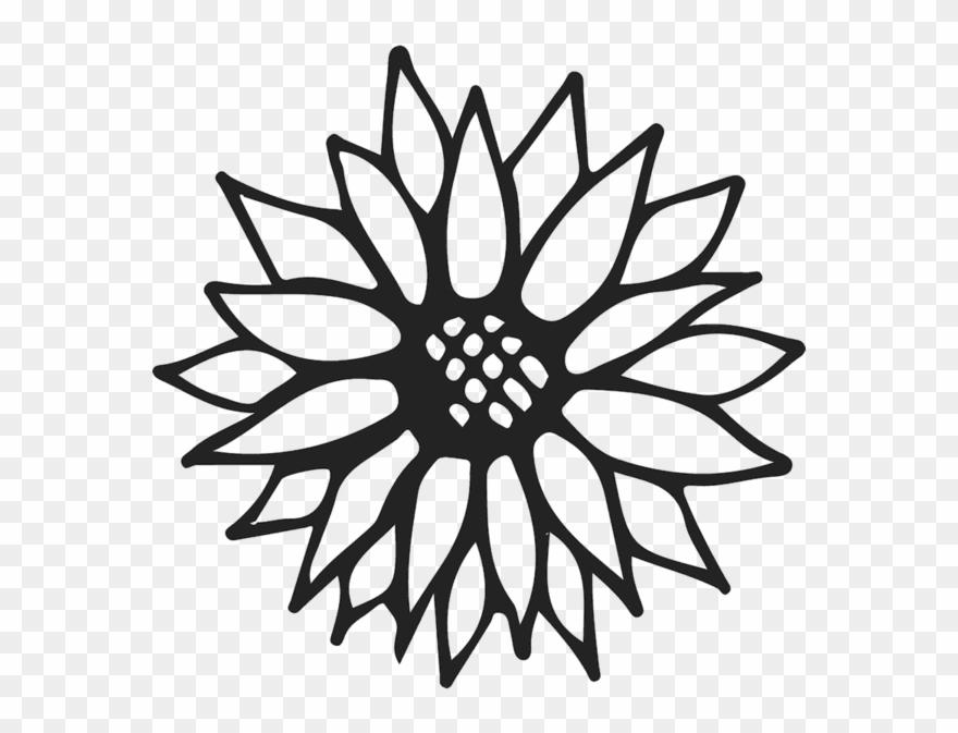 Sunflower Outline Rubber Stamp.