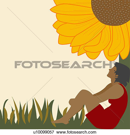 Stock Illustration of Side profile of a young woman leaning.