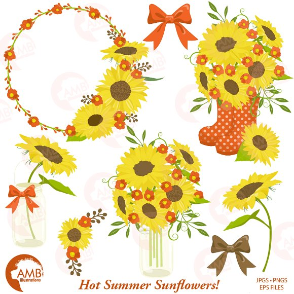 Sunflower Clipart Frames 1434 ~ Illustrations on Creative Market.