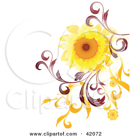 Clipart Illustration of a Nature Background Of A Bright Sunflower.