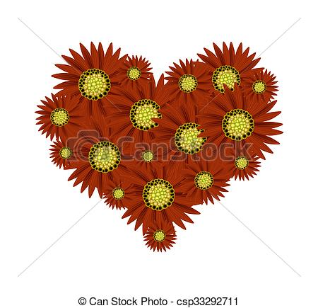 Clipart of Beautiful Red Sunflower in A Heart.