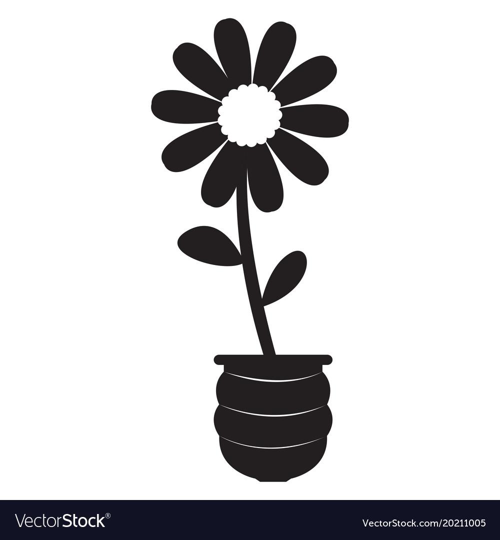 Cute sunflower on a pot silhouette.