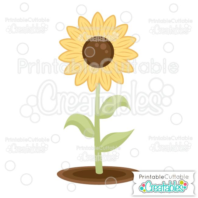 Sunflower Free SVG File & Clipart for Silhouette, Cricut.