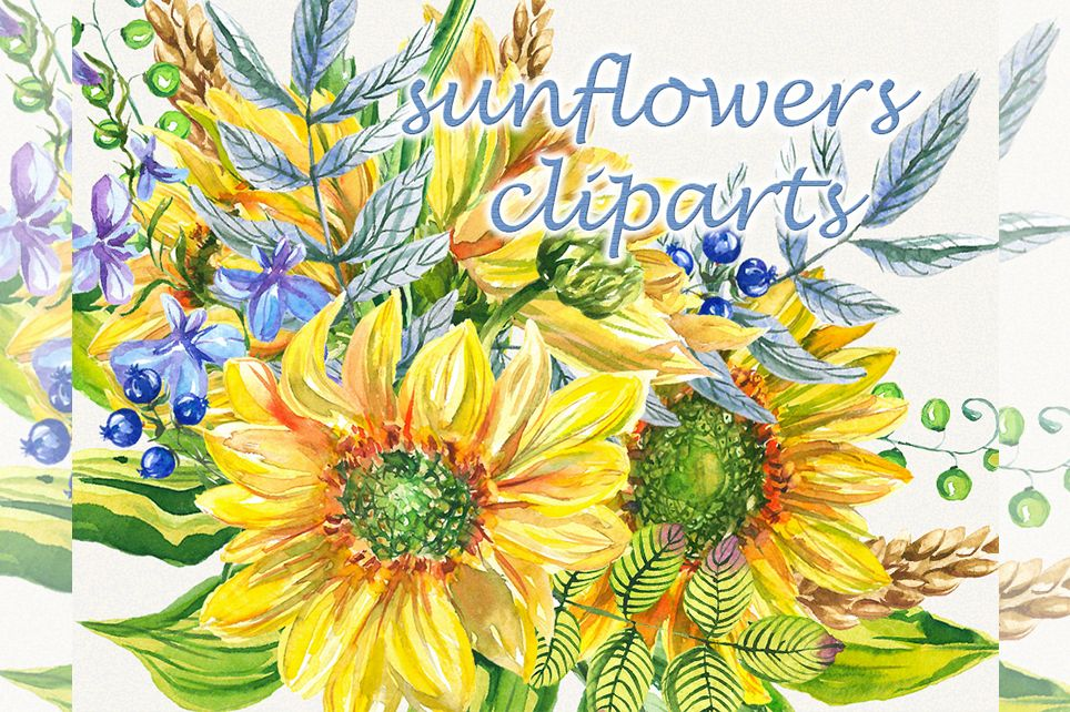 Sunflower clipart, sunflower watercolor clipart, floral.