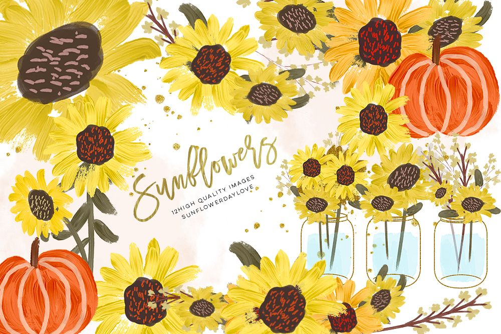 Sunflower Watercolor clipart, Pumpkin clip art.