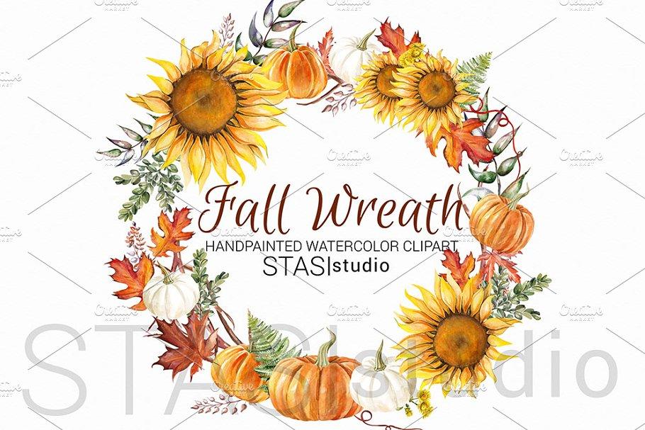 Sunflower Wreath Autumn Clipart.