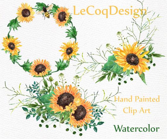 Sunflower watercolor wreath clipart: \